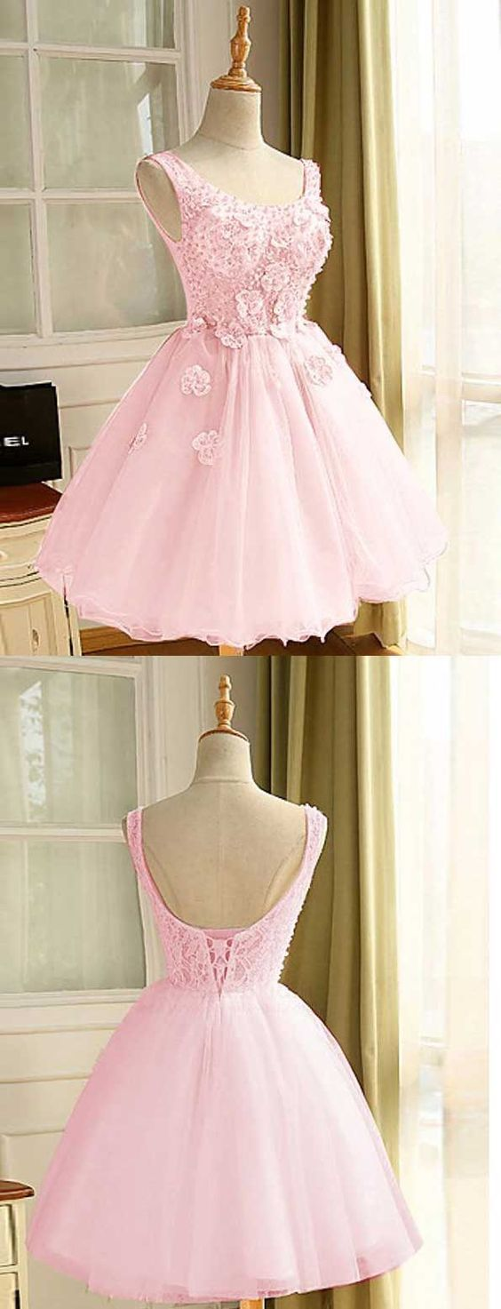 Elegant Pink Appliques A Line Prom Dress Tulle Short Homecoming Dress