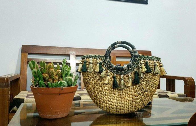 Handwoven Bag, Straw Handbag, Basket Handbag, hand-stitched bag, Bridesmaid