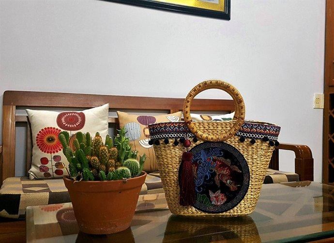 Straw bag, straw market tote, top handle bag, picnic basket, straw handbag,