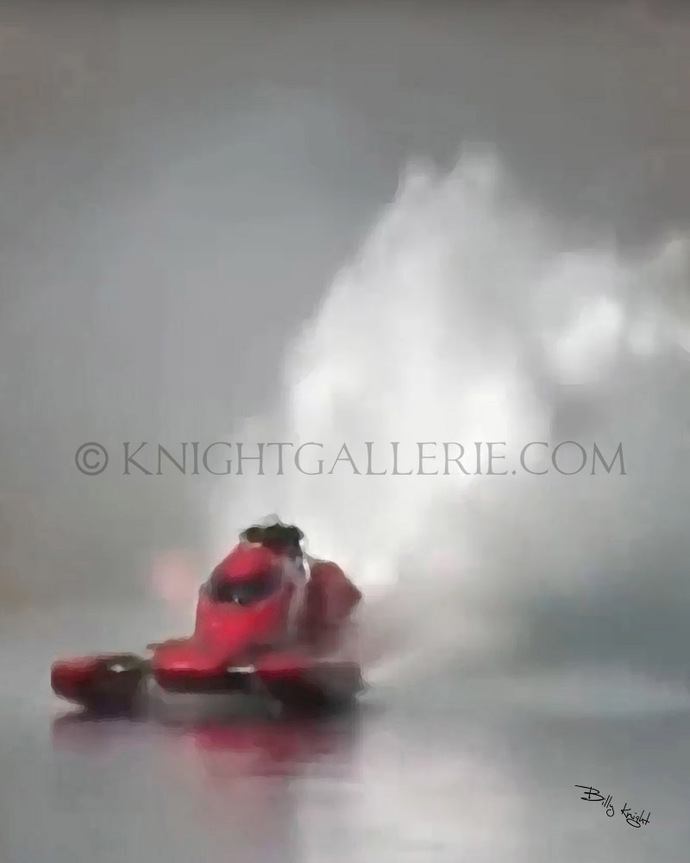 Mixed-Media Art: Red Drag Boat