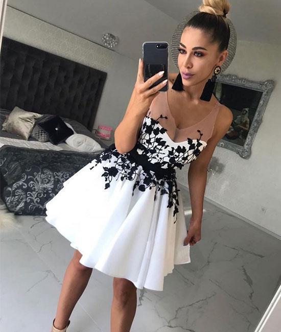 Elegant Appliques Black A Line Prom Dress, Short Homecoming Dress