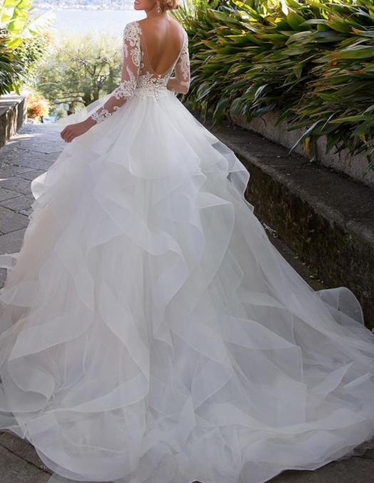 Elegant Appliques Full Sleeve White Ball Gown Wedding Dresses, Tulle Bridal