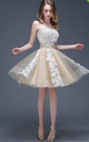 f659401ea79b Elegant Strapless Champagne A Line Prom | fancygirldress