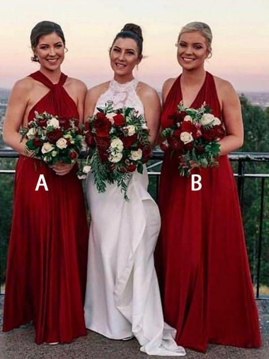 Sexy A-Line Red Bridesmaid Dresses, Wedding Party Dress