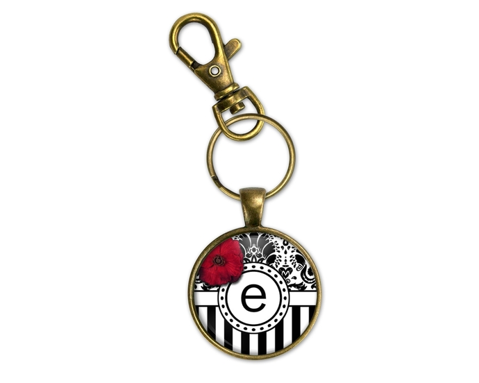 Personalized key fob, monogram key ring, Initial purse charm, personalized gift,