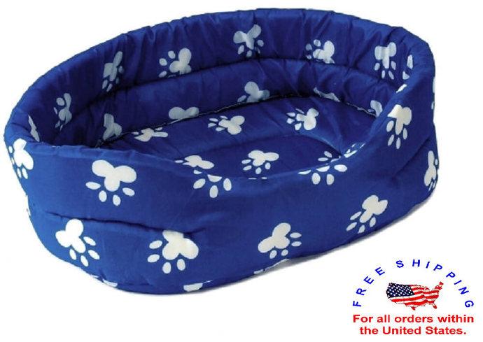 "Brand New PET BED 22"" Blue w. White Paw Prints Dog Puppy Cat Kitten Cushion"
