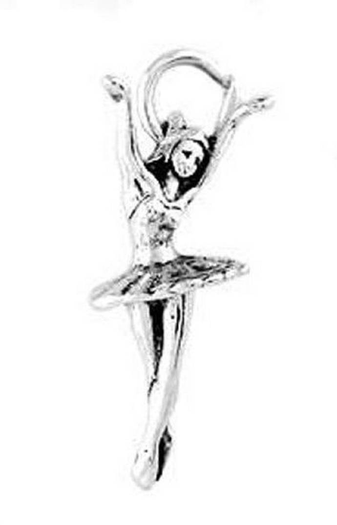 1 (One) Piece Sterling Silver DANCING Spinning BALLERINA CHARM Pendant