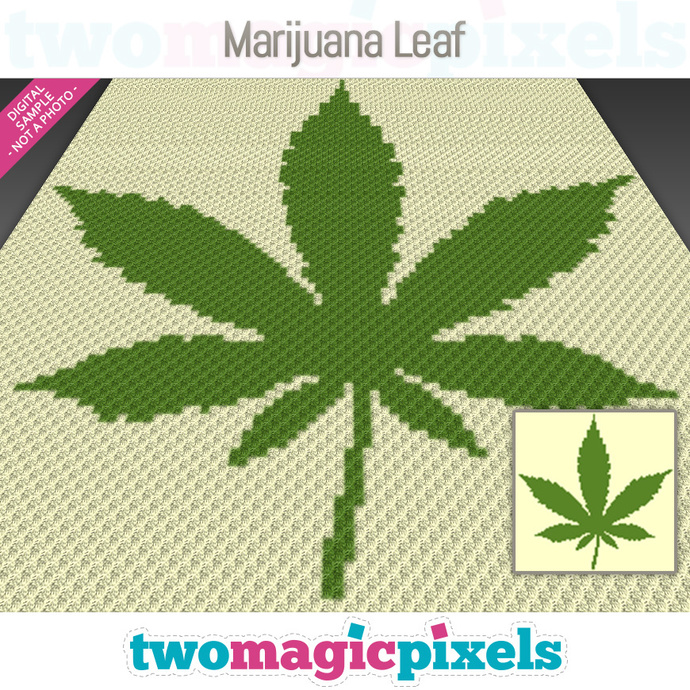 Marijuana Leaf crochet graph (C2C, Mini C2C, SC, HDC, DC, TSS), cross stitch,