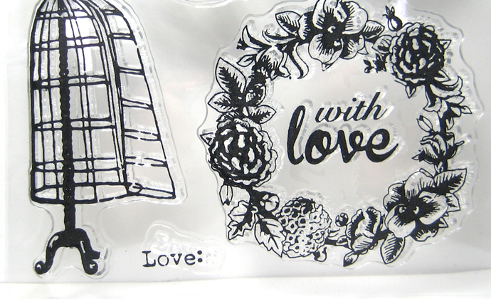 Dress Form, Music, Bird Cage, With Love, Crown, Clear Stamp Set
