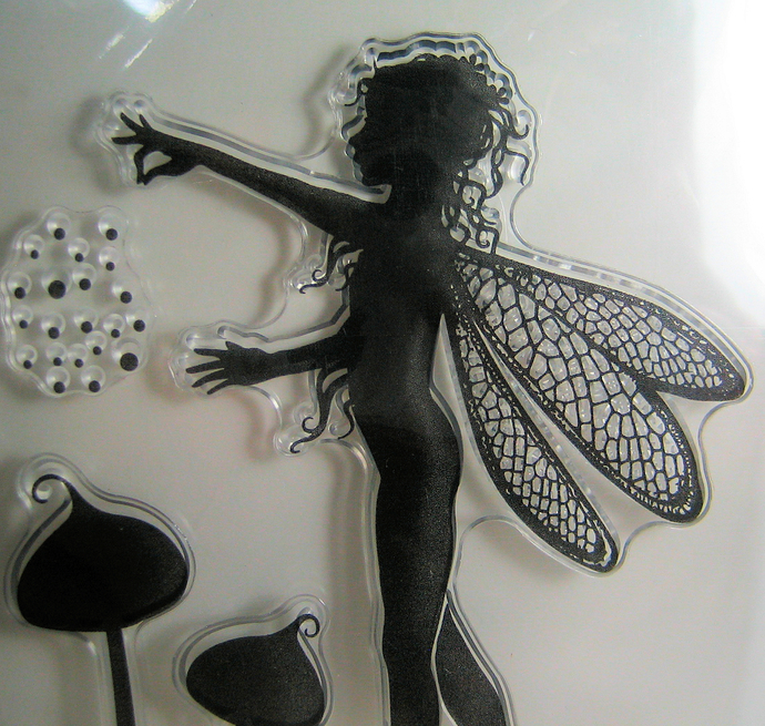 Fairy Clear Stamp, Vine, Mushrooms, Saying
