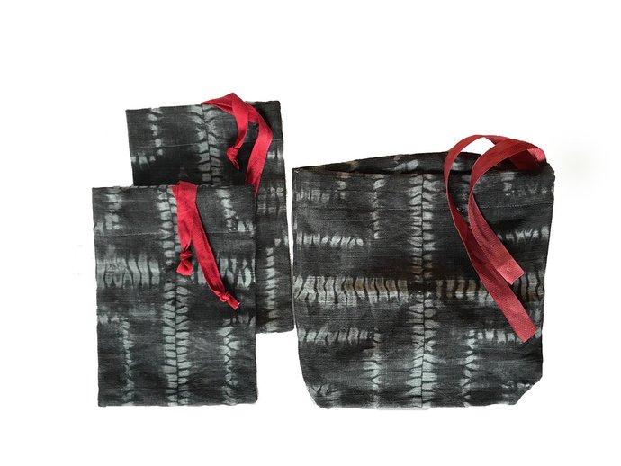 Reusable gift bags, set of 3 linen shibori hand dyed gift bags, medium and large