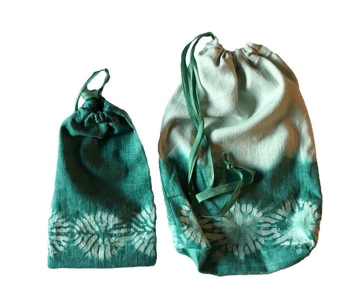 Reusable gift bags, set of 2 linen shibori hand dyed gift bags, medium and large