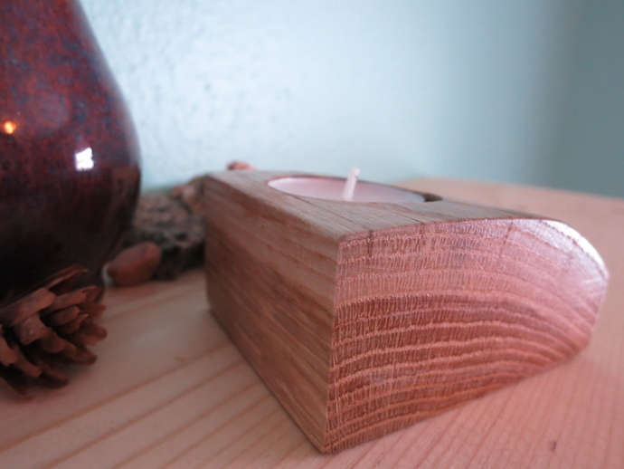 Handmade small solid natural wood tealight candle holder version three