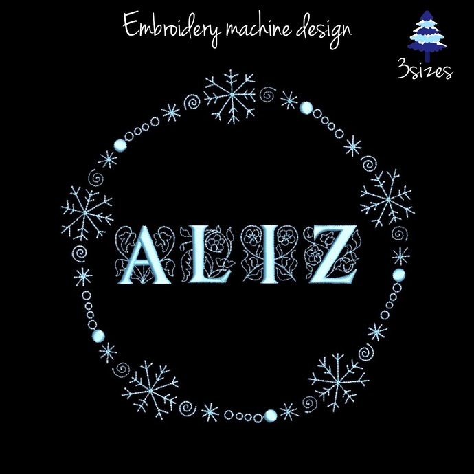 Snowflake Circle Frame Embroidery Machine Designs pes font digital instant