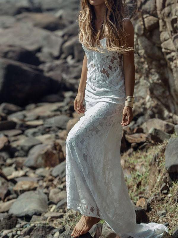 Sexy Spaghetti Straps Lace Mermaid Wedding Dresses, Pretty Bridal Dress