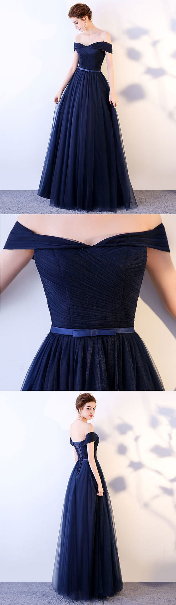 Navy Blue Handmade Party Dress 2019,Formal Gowns, Off Shoulder Wedding Party