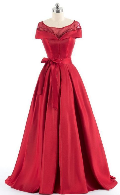 Red shoulder evening dress, luxury evening gowns,sexy prom dress, custom made