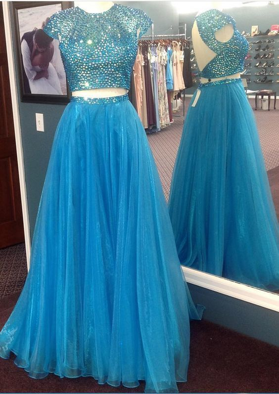 6d189163dbc16 Short Sleeves Prom Dresses, Two Piece Prom Dresses,Crystal Prom Dresses