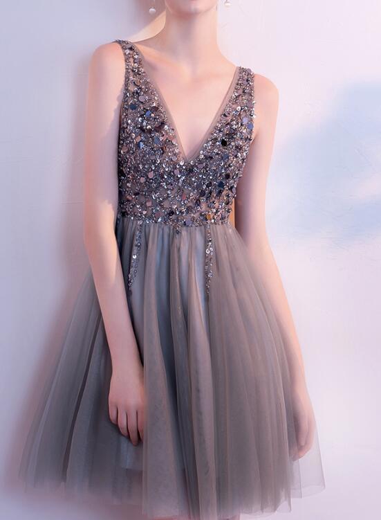 V neck Short Tulle Prom Dress Beaded women by prom dresses on Zibbet 13de26677