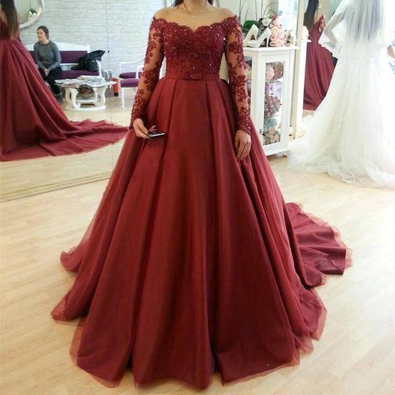 5275a8e2e50 New Arrival Long Sleeve Lace Burgundy A Line Long Prom Dresses 2019 Custom  Made