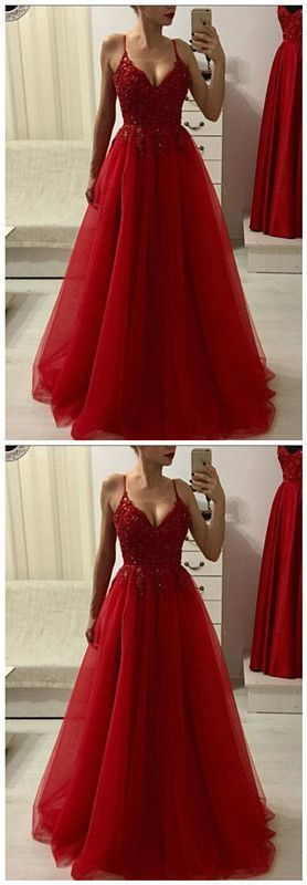 aa14eeea123c Red V Neck Lace Tulle Long Prom Dress