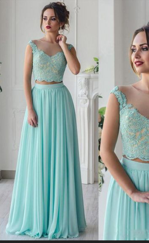 Two Pieces Long Prom Dress, Light gREEN Lace Prom Dresses, 2019 Women Party