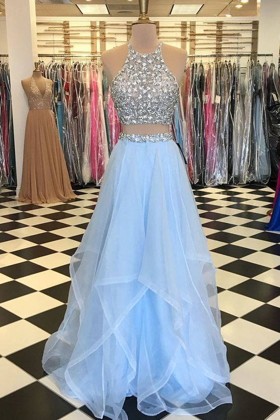 8a0bdd3b42e Light Blue Tulle Prom Dress 2 Pieces Halter By Prom Dresses On Zibbet.  Leogirl Womens Modest Halter Top Two ...