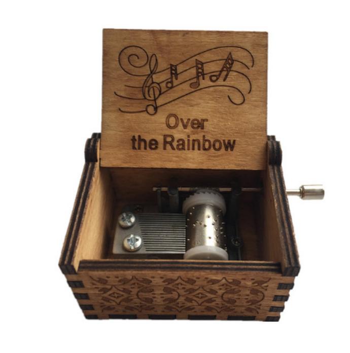 Over the rainbow handmade crank wood music box