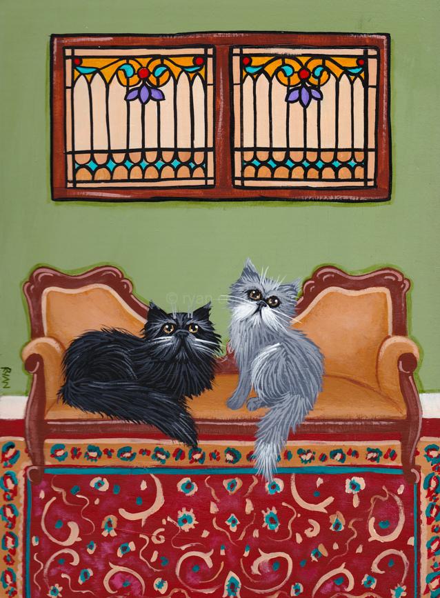 The Persian Cats Room Original Cat Folk Art Acrylic Painting