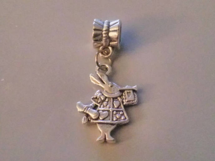 "Tibetan Silver ""ALICE IN WONDERLAND White Rabbit""  European Charm -Bead  Charm"