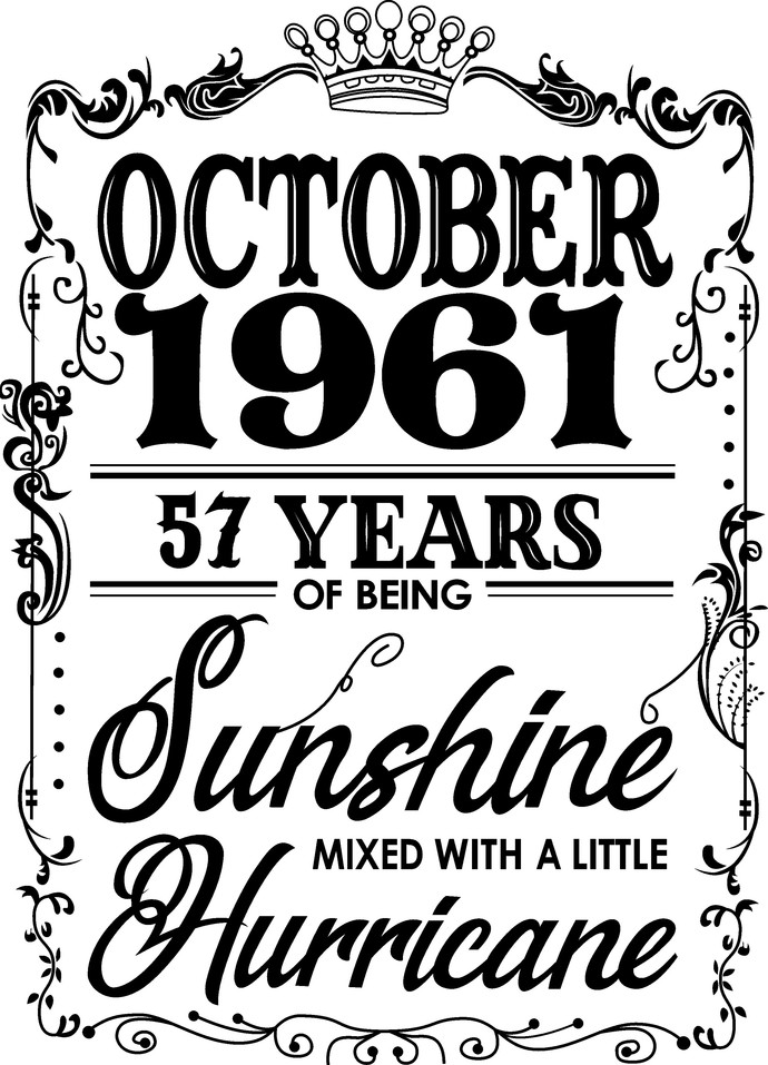 October 1961 years of being Sunshine mixed with a little Hurricane, Birthday,