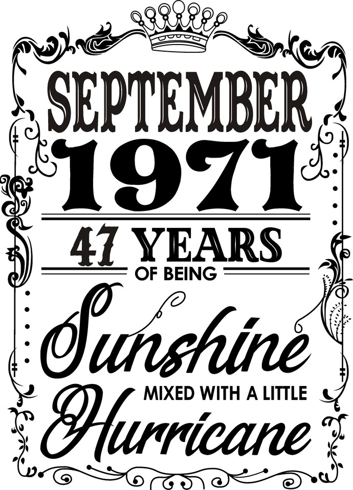 September 1971 years of being Sunshine mixed with a little Hurricane, Birthday,