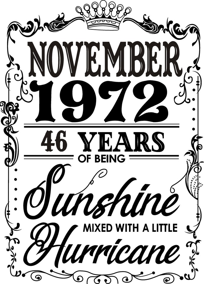 November 1972 years of being Sunshine mixed with a little Hurricane, Birthday,