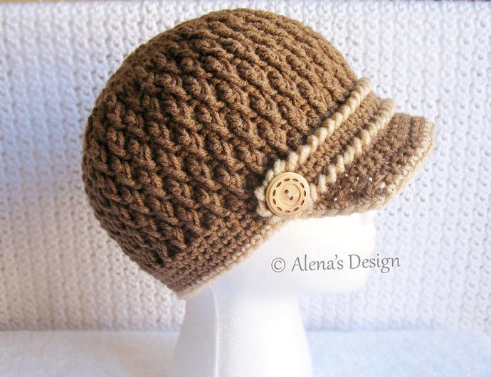 Crochet Buttoned Visor Hat Handmade Newsboy Cap Beanie Winter Hat Black Grey