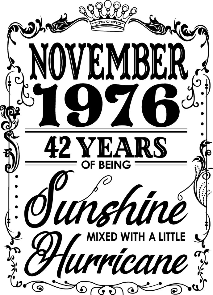 November 1976 years of being Sunshine mixed with a little Hurricane, Birthday,