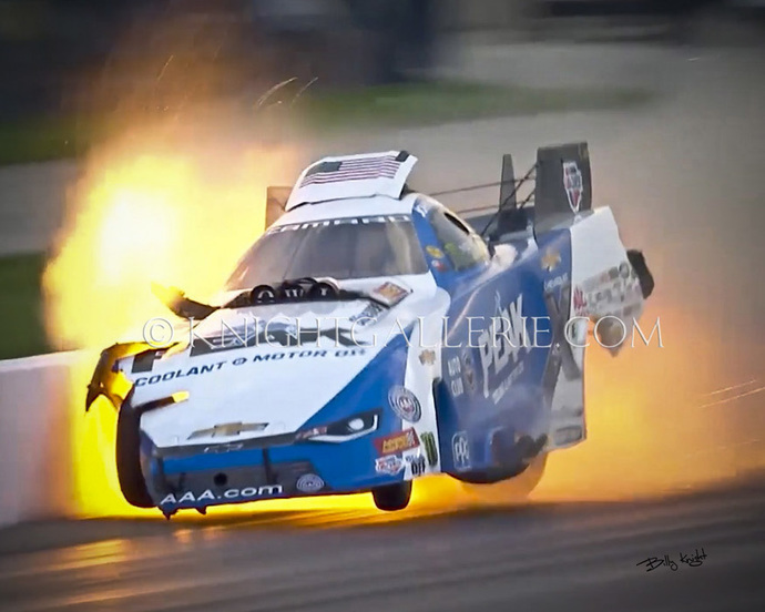 NItro Funny Car: John Force Tags The Wall!