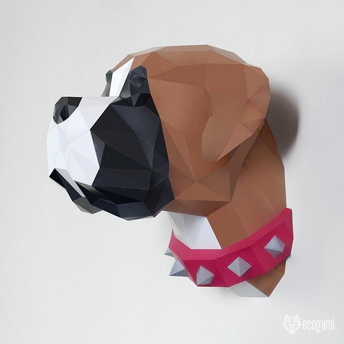 Papercraft boxer head   DIY pet wall mount décor   3D sculpture   Printable PDF