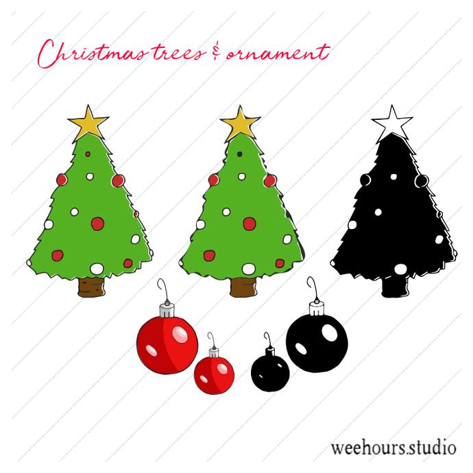 Christmas tree & bonus ornament vector pack for digital scrapbooking, stamps,