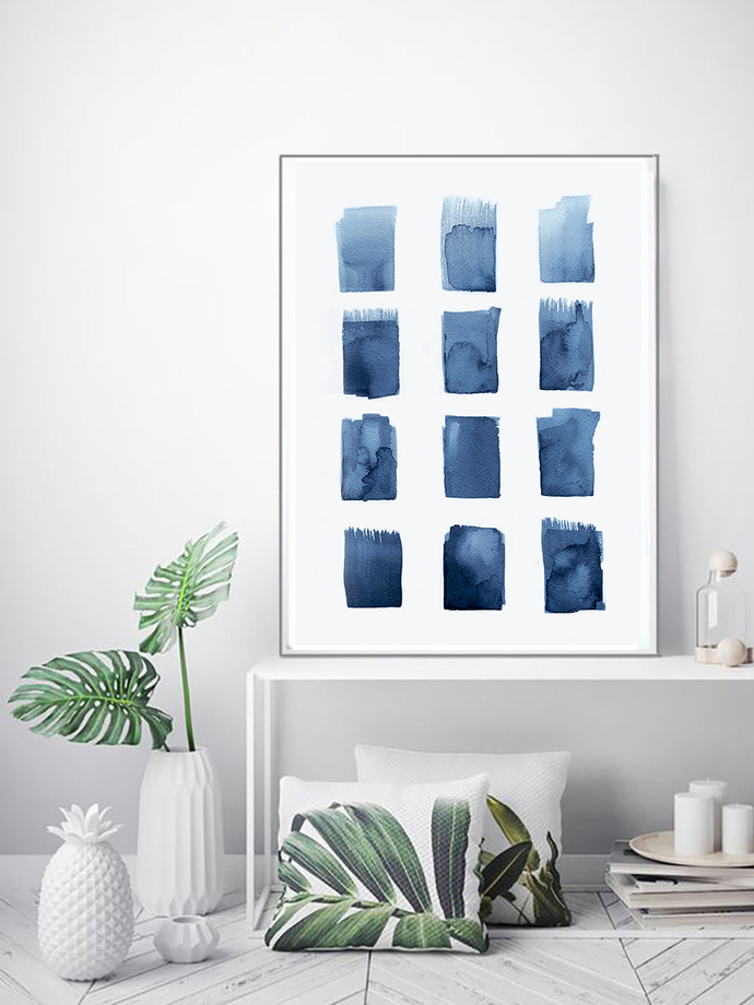 Watercolour Wall Art Print, Abstract Painting, Modern Minimalist, Navy Blue