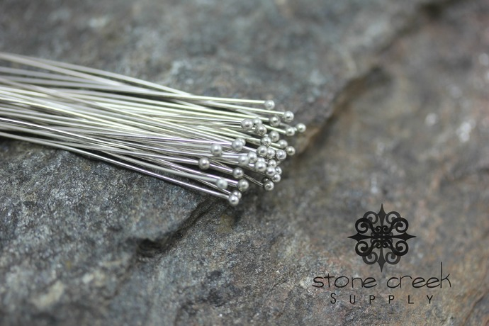 60 mm Nickel Free Antique Silver Headpins Nearly 2.5 inches - 0.7 mm 21 gauge