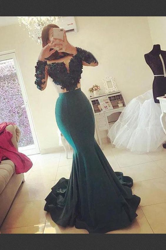 Cheap Nice Long Sleeves Long Evening Dresses, Cheap Prom Dress,Sexy Party