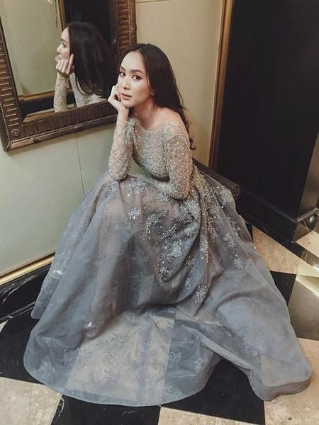 Stunning Long Sleeves Beaded Charming Unique Long Prom Dress,Cheap Prom