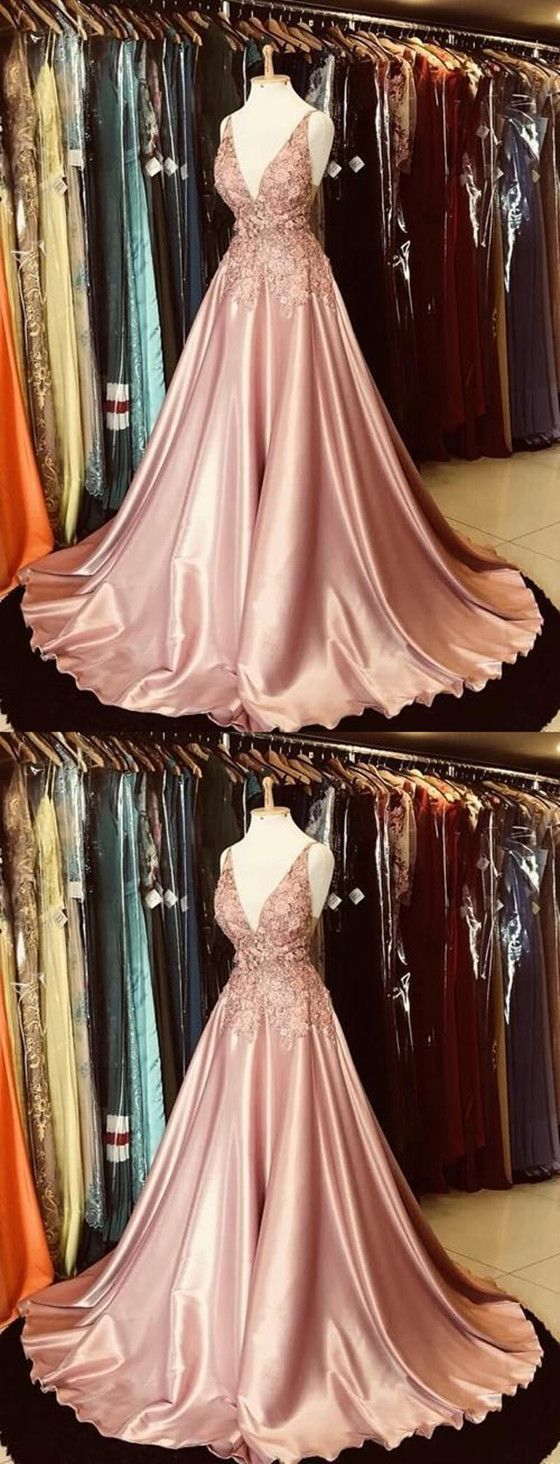 Gorgeous A-line V-neck Appliques Top Hot Selling Long Prom Dress,Cheap Prom