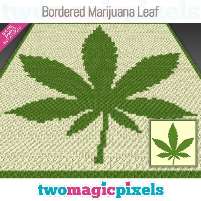 Bordered Marijuana Leaf crochet graph (C2C, Mini C2C, SC, HDC, DC, TSS), cross