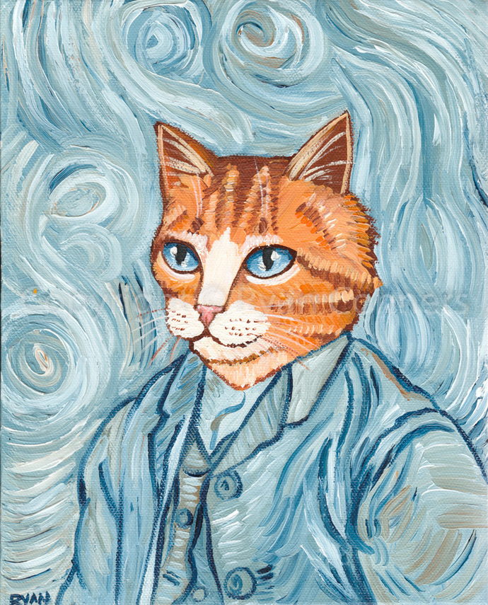 Cat Van Gogh Portrait Original Ginger Cat Folk Art Painting