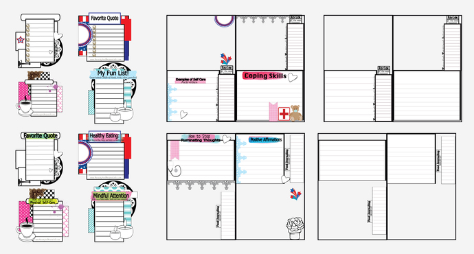 Tea Party  Printable Art Journal Layout- Self-Care Art Journal Printable CARDS,