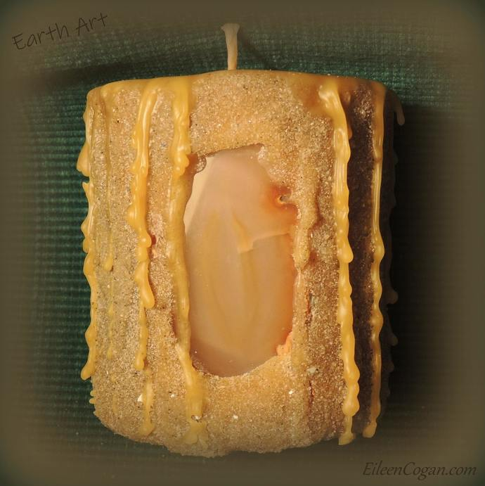 Sand candle with natural agate slice #101