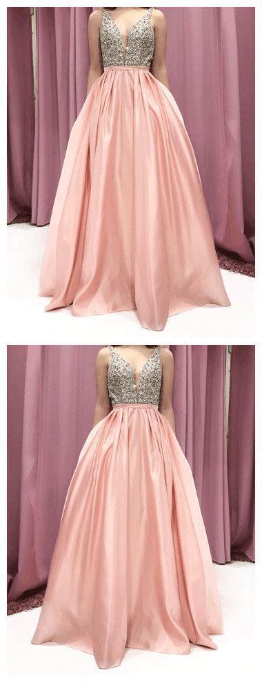GORGEOUS PROM DRESSES A-LINE PINK BEADING LONG PROM DRESS/EVENING DRESS