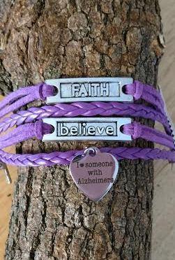 Alzheimer's Awareness Handmade Bracelet- I love someone with Alzheimer's