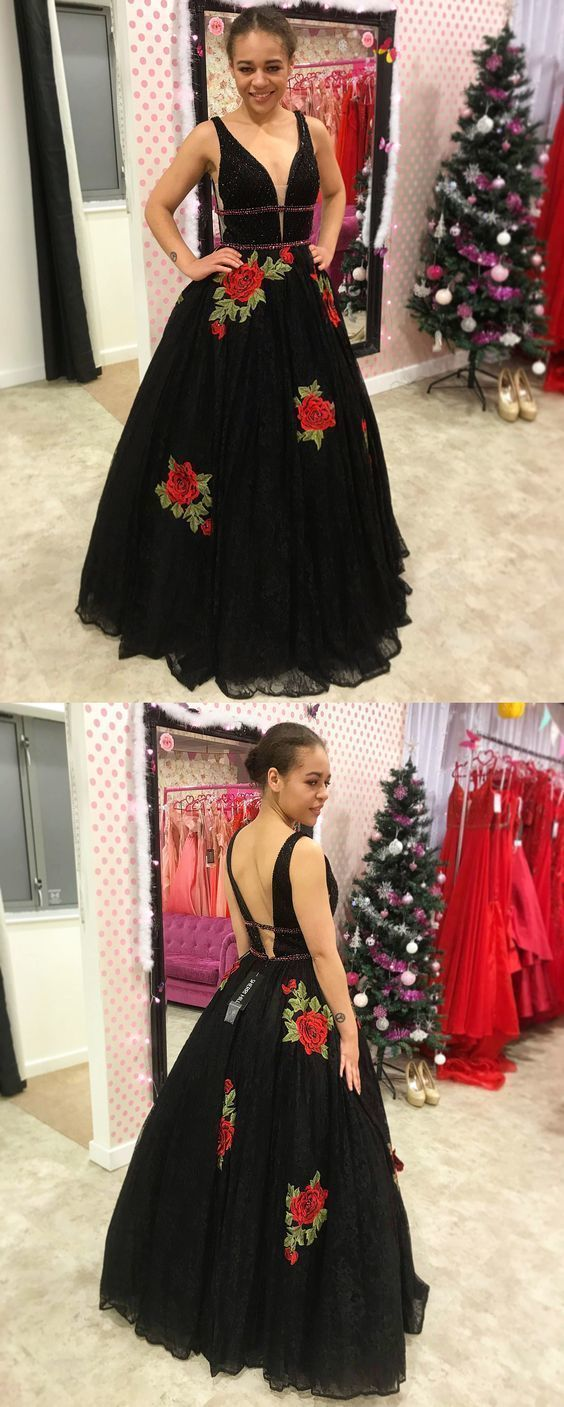 Princess Black Lace Long Prom Dress with Floral Embroidery